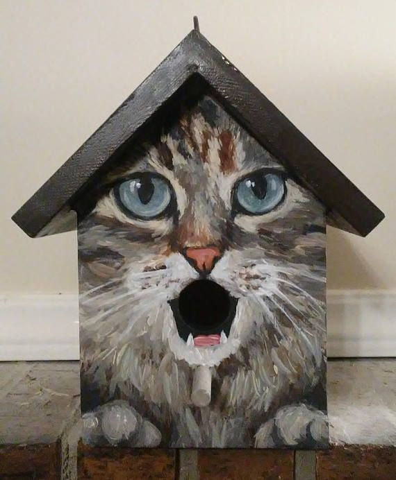 Birdhouse. This bird house is a handpainted EXAMPLE of a grey cat with a chocolate colored roof. Great gift for people who love cats! Various cat breeds or colors may be custom ordered. **If you would like to order this as a gift, please let me know and I will not include a receipt in
