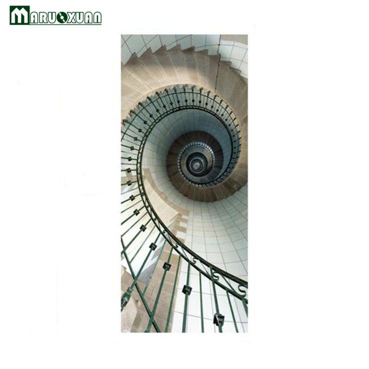 Best Promo Maruoxuan New 3D Door Stickers Spiral Staircase Door 400 x 300