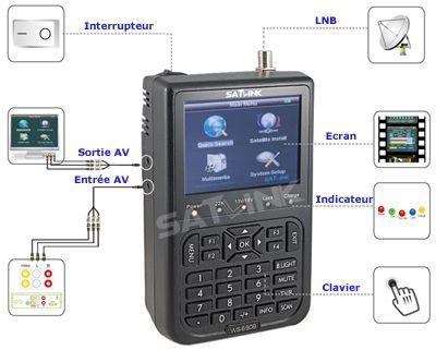 Mesureur de Champ Satellite DVB-S Satlink WS 6908 - écran couleur TFT 3.5 pouces