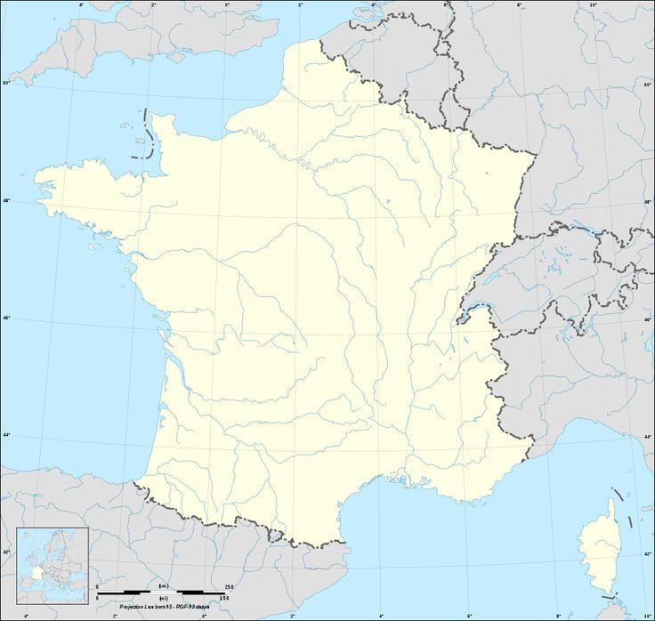 Fond de carte de France avec rivières et fleuves