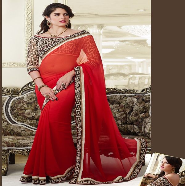Red black combination ‪#‎Designer‬ ‪#‎Saree‬ Red designer saree with light cut work border with satin patti and heavy designer front and back worked classic designer ‪#‎blouse‬ Shop Now http://www.fashion4style.com/woman/clothing/designer-sarees/red-black-combination-designer-saree/pid=MjQ5