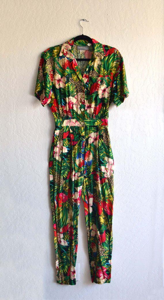 Tropical Leopard Women's Jumpsuit // Vintage 80s Hipster Jumpsuit
