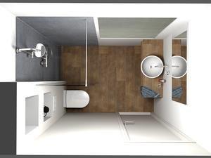 (De Eerste Kamer) Een kleine badkamer die ruimtelijk oogt. Deze badkamer heeft een afmeting van 220 cm x 160 cm. In de kleine badkamer is bovendien een raam aanwezig op de achterwand waar tijdens het ontwerpen rekening mee moest worden gehouden. In de douche is een glazen douchewand aangebracht om de ruimte af te schermen. Glas zorgt voor rust in de badkamer en houdt de ruimte...