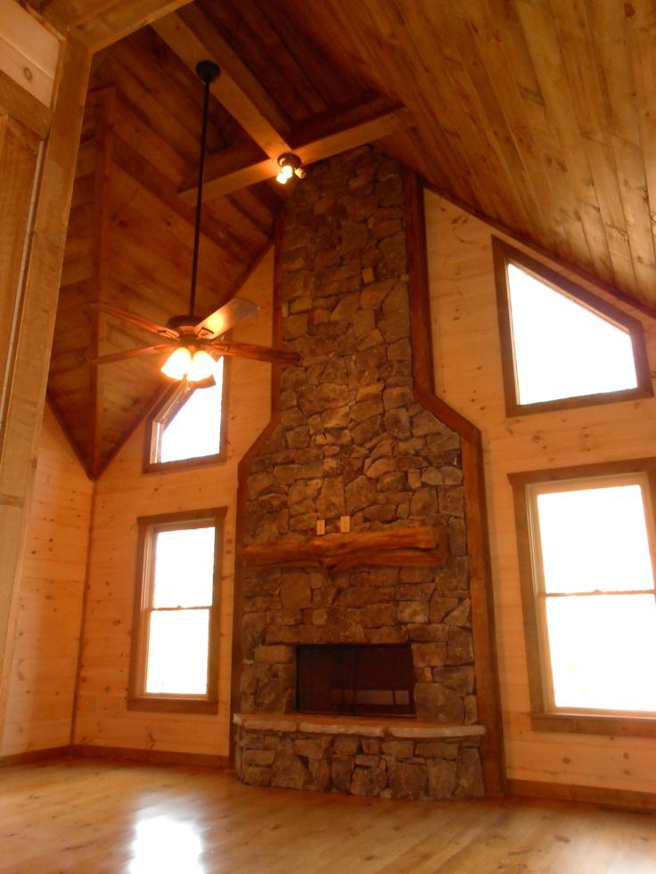 fieldstone fireplace white shelves | Heavy stack fieldstone, cedar half log fireplace mantel ...