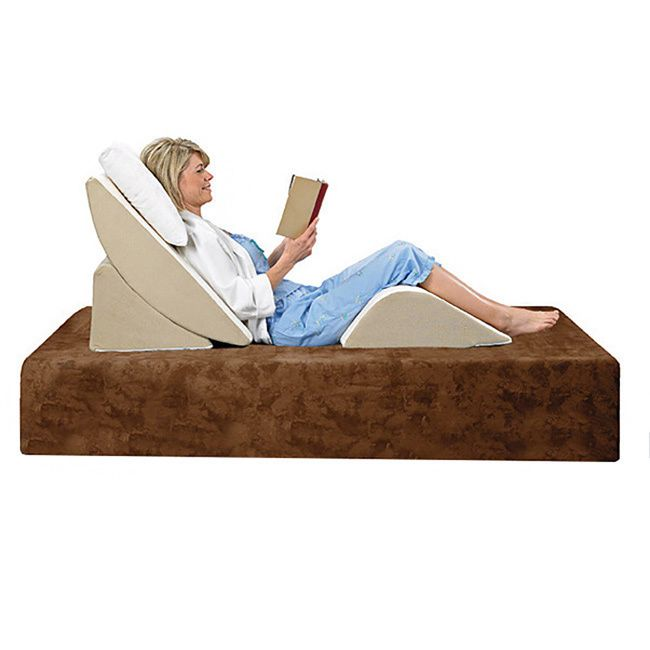 This foam Comfort Dreams three-piece wedge system reduces tension on common pressure points, including the back and legs, while you lounge on your bed. Adjust the back wedge to the ideal angle anytime you want to read a book or relax.