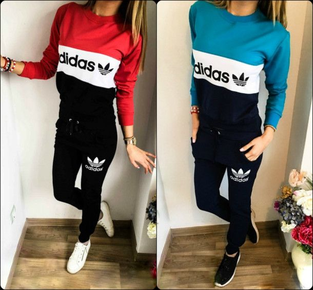 Jumpsuit adidas pants sweater adidas sweater adidas tracksuit tracksuit joggers blue red ...