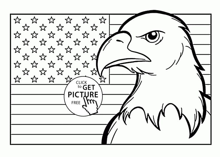 American Flag and Eagle Fourth of July coloring page for