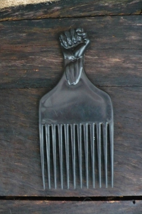 Afro Hair Pick Black Fist African American Power Plastic