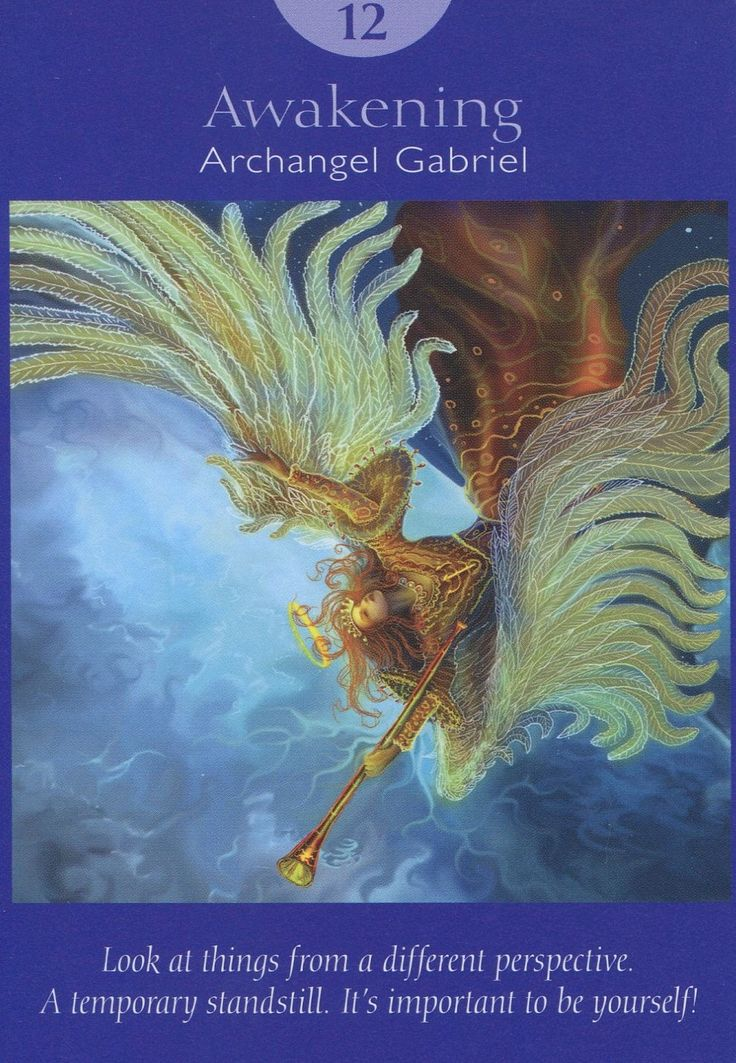 12 Awakening - Archangel Gabriel (XII The Hanged Man in more traditional decks).  Deck: Angel Tarot Cards, by Doreen Virtue and Radleigh Valentine. Artwork by Steve A. Roberts