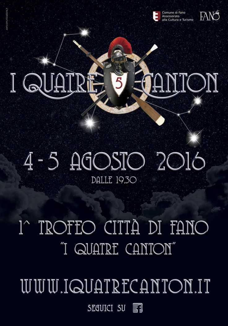 """La locandina dell'evento """"I Quatre Canton"""", la festa tipica Fanese da quest'anno completamente trasformata. . la sfida fra i cantoni (5) sta per cominciare  #zarricomunicazione #iquatrecanton #adv #fano #marche #evento #grafica #loghi"""