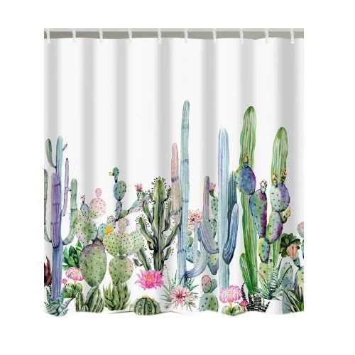 Watercolor Painting Cactus Print Bathroom Shower Curtain In 2019