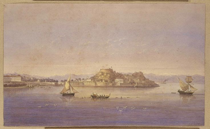Joseph Schranz (1803 - 1853): View of Corfu, 1826. The Ionian islands were under Venetian occupation until 1797 and under British rule until they were ceded to Greece in 1864 on the selection of the new king, George I. Watercolour. Benaki Museum