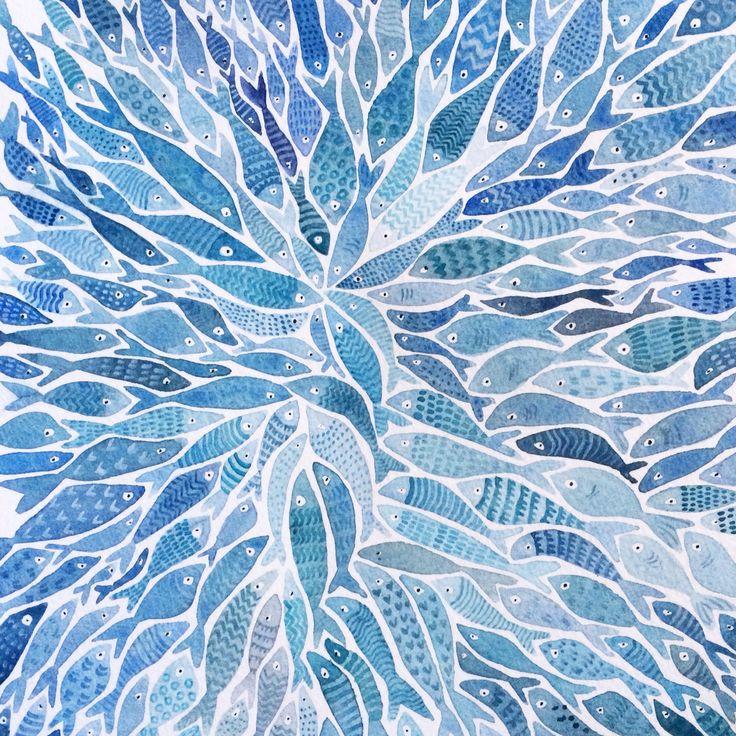 Blue Fish Watercolour - Ingjerd Tufto