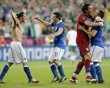 Italy's Federico Balzaretti (L), Antonio Di Natale (2ndL), goalkeeper Gianluigi Buffon and Antonio Cassano (R) celebrate their victory over Ireland after their Group C Euro 2012 soccer match at the City stadium in Poznan, June 18, 2012.