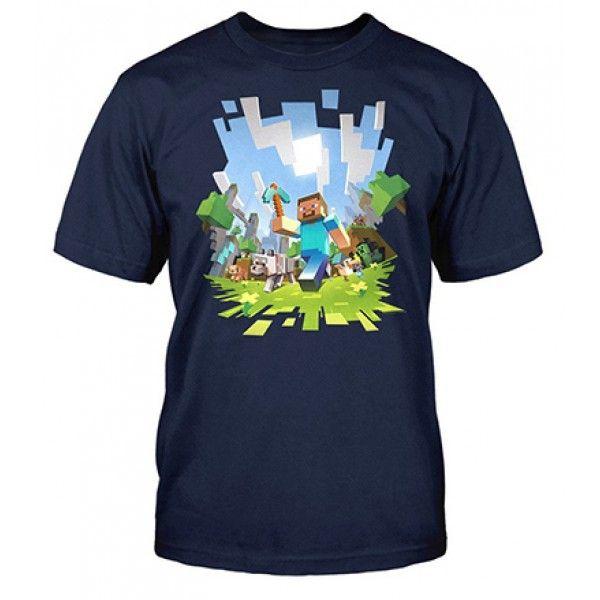 Minecraft t-shirt i mørkeblå med flot motiv fra spillet skabt af Mojang Jinx