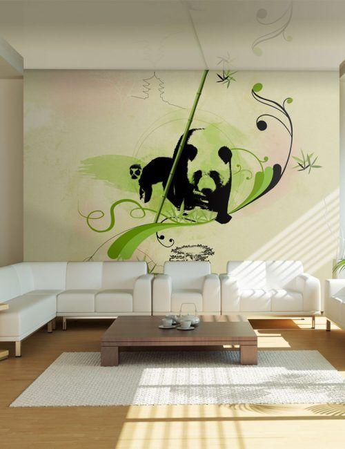 Carta da Parati Panda con Bambù Carta da Parati Fotomurale a Tema Natura con Animali