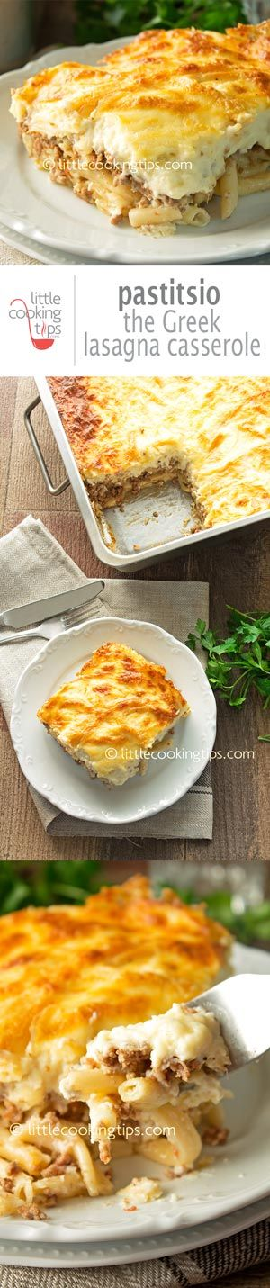 Pastitsio: the recipe for Greek Lasagna Casserole! Step by step instructions, to easily make one of the favorite Greek comfort foods. Creamy, cheesy, with layers of yummy pasta and beef, this is a traditional dish to die for. It's an excellent choice if you're having people over, like on a Sunday meal with your friends or family.  Repin to your own inspiration board! #casserole #Greek #traditional #authentic #comfortfood