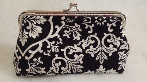 Fekete fehér mintás pénztárca, Táska, Pénztárca, tok, tárca, Pénztárca, Meska