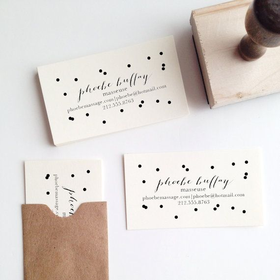 Confetti Business Card Stamp by stationeryboutique on Etsy, $30.00 Her whole shop is fantastic! Her calendars are just beautiful!