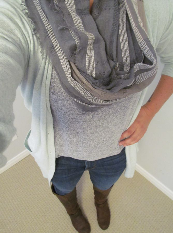 OOTD – Floral+Flats  Mint cardigan, jeans, brown boots, infinity scarf