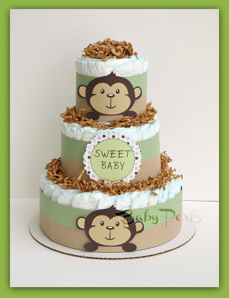 25 best ideas about monkey baby shower decorations on for Baby diaper cake decoration