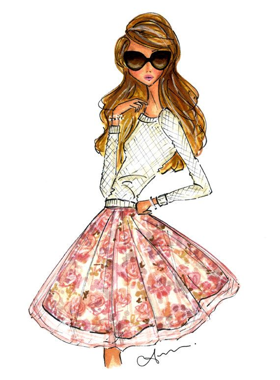Fashion Illustration Print Fall Floral by anumt on Etsy