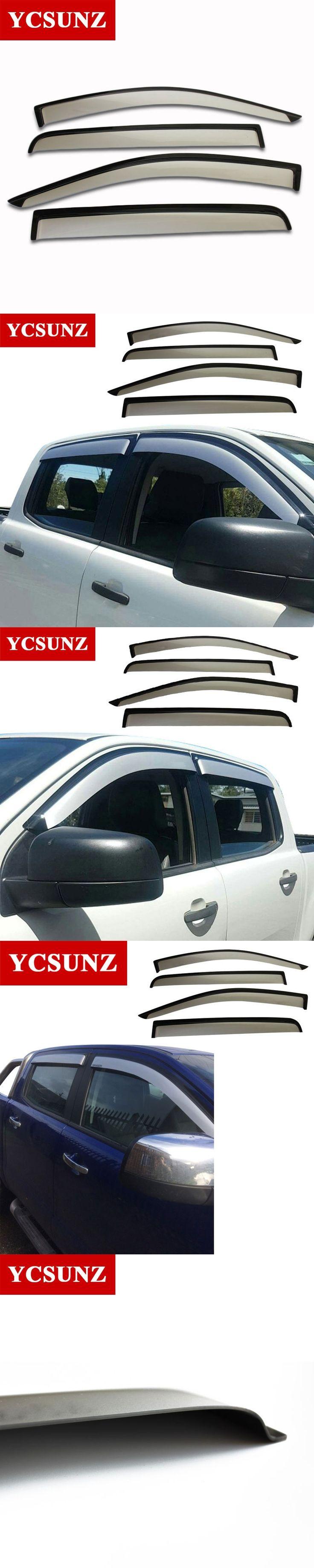 Side Window Deflectors For Ford Ranger Silver Color Car Wind Deflector Sun Guard For Ford Ranger T6 2012-2014 Vent Door Visor