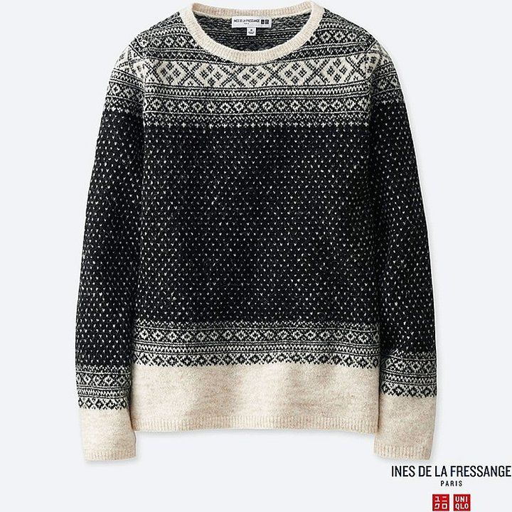 Uniqlo Women's Idlf Jacquard Crewneck Sweater