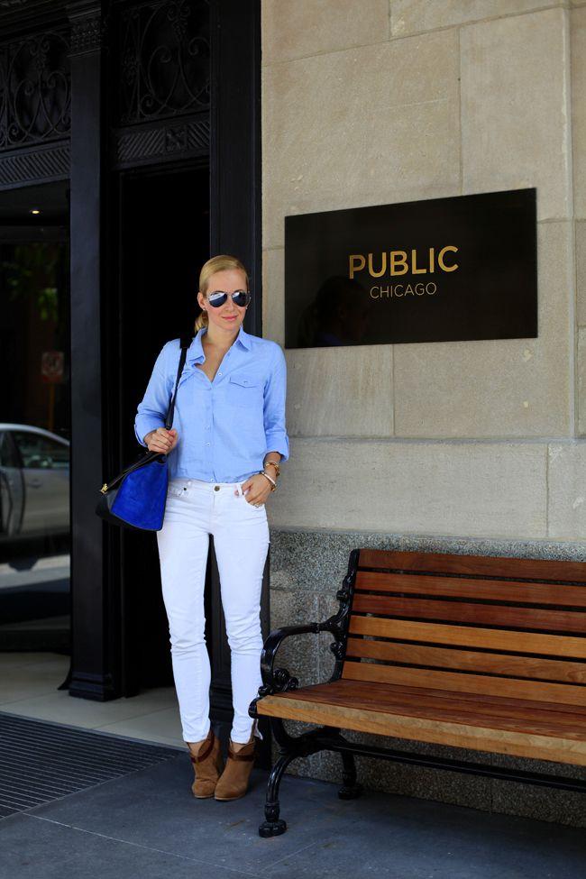 Chicago! (Photo Overload) via BrooklynBlonde.com / @brooklynblonde  Button Down: Top Shop | Jeans: Paige (similar) | Belt: J Crew | Booties: Rag & Bone Monday, July 8, 2013