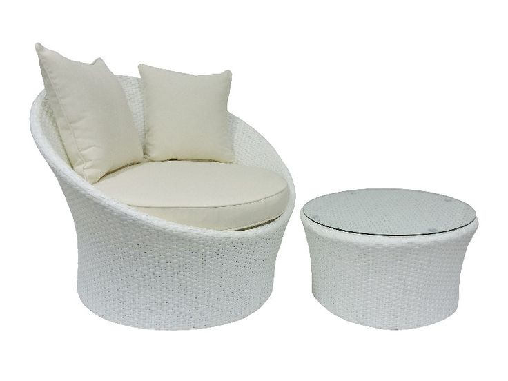Wicker outdoor chair, White Grace Chair with ottoman/coffee table.
