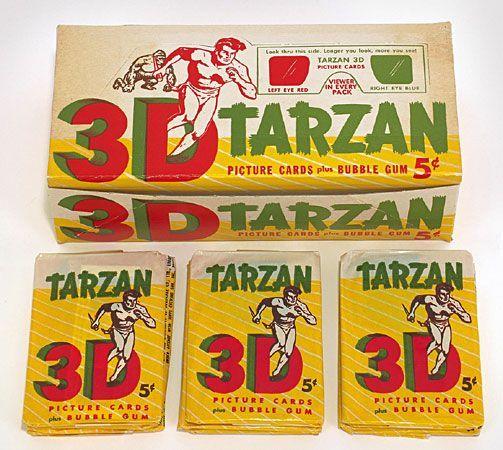 1953 Topps Tarzan 3-D Five-Cent Wax Box with 29 Packs