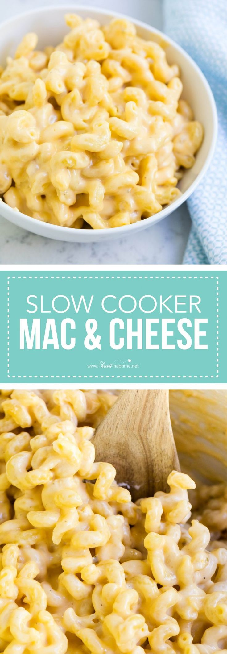 Weeknight dinner just got easier with this yummy Slow Cooker Mac + Cheese recipe.
