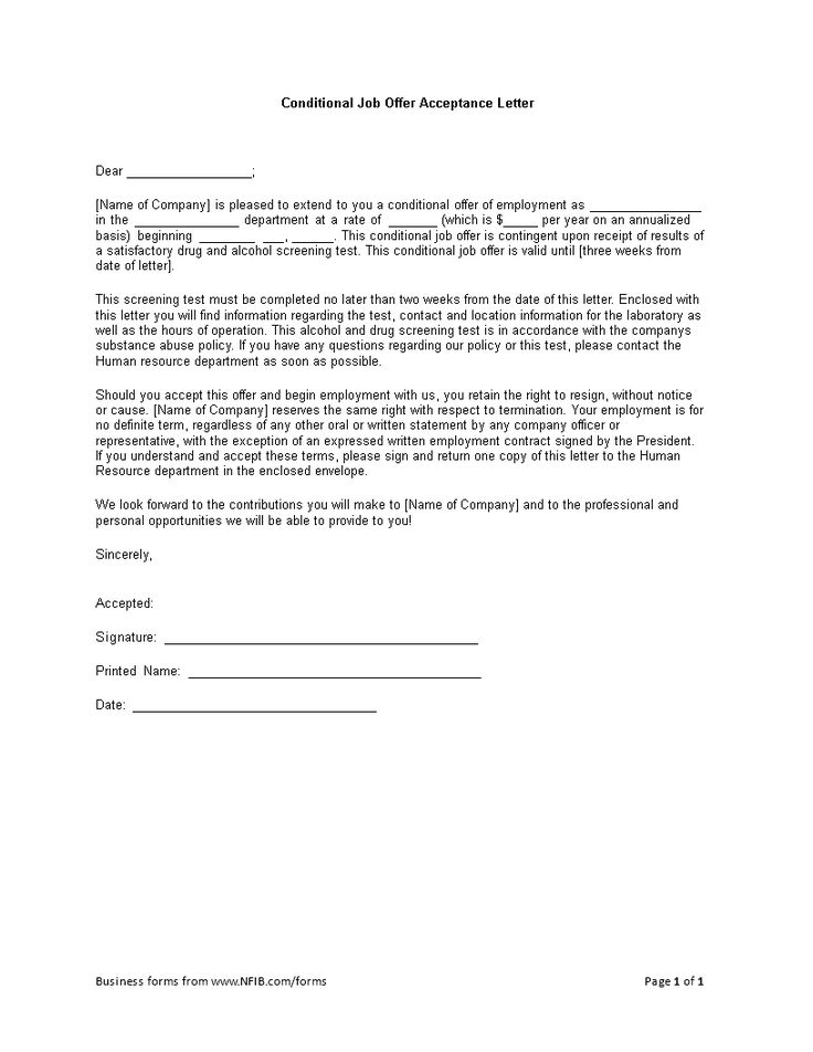 Conditional Job Offer Acceptance Letter How to create a