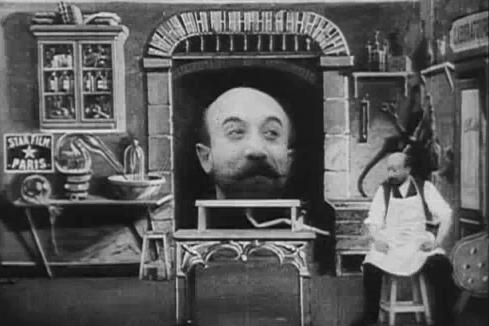 """A screencap from the Georges Melies film """"The Man with the Rubber Head,"""" 1902"""