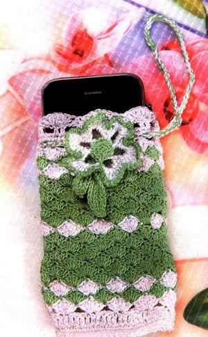 зеленый чехол для мобильного телефона вязаный крючком