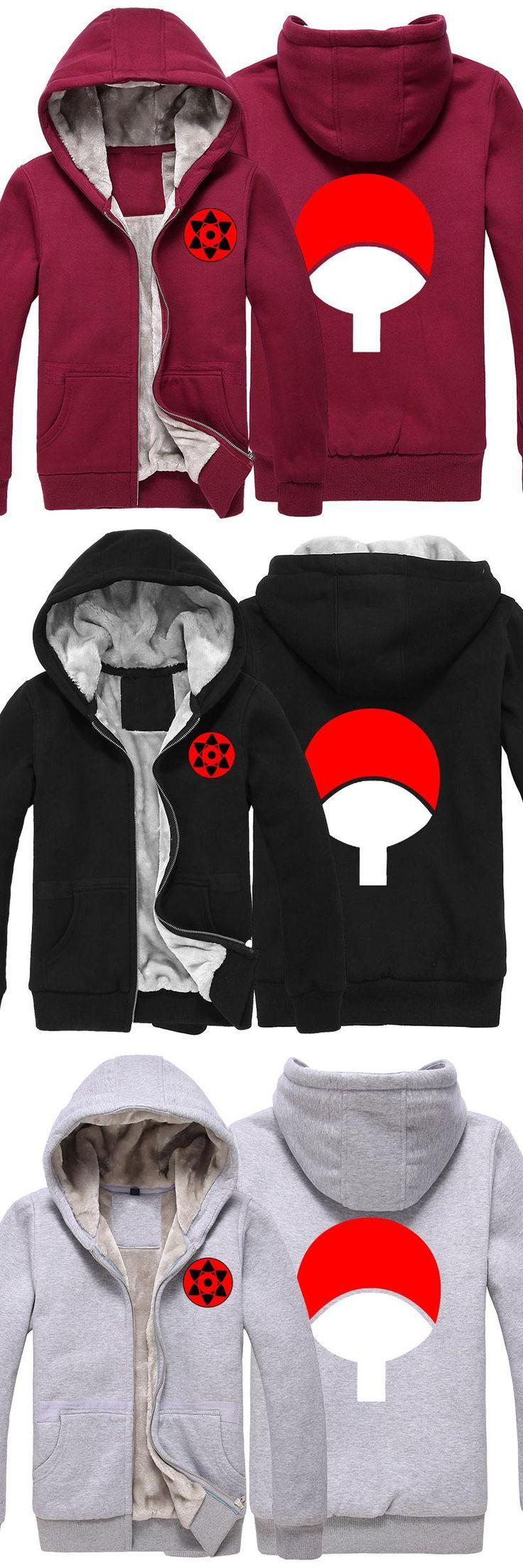 Anime Naruto uchiha sasuke cosplay costume women men cardigan zipper thick hoodie jacket coat