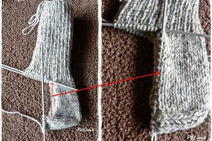 table with stitch count for socks for different sizes