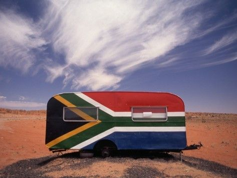 Food Trailer Painted with South African Flag Motif Photographic Print. BelAfrique - your personal travel planner - www.BelAfrique.com