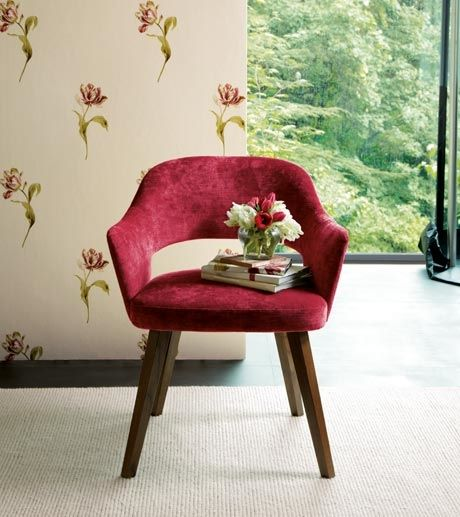Photo Of Designer Rich Soft Pink Red Velvet Gosford Laura Ashley Dining Room With Upholstery Wallpaper And Chair