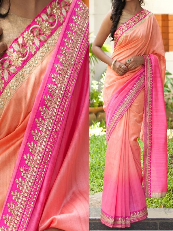 Tempting Peach Georgette Designer Saree with Golden Color Banarasi Blouse.It contained the work of Multi, Sequence & Hand with Lace border.The Blouse which can be customized up to bust size 44