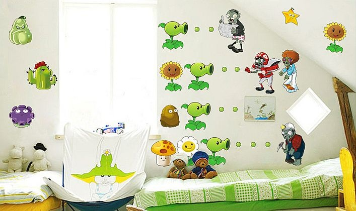 Plants Vs Zombies Wall Decals (Removable Vinyl Wall Stickers, Nursery & Kids Room Decor, Video Game)