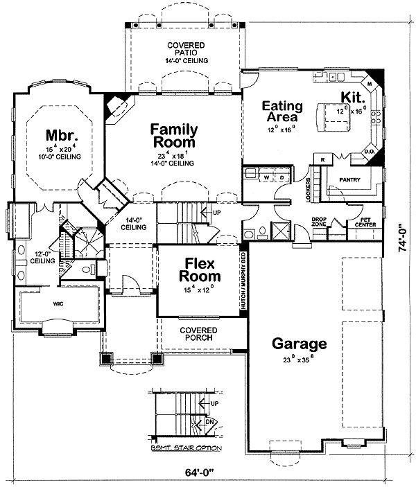 Plan 42198db european house plan with flex room house for Flexible house plans