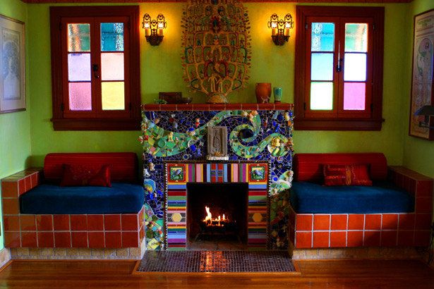 Artists Piece Together A Colorful Look With Mosaics In Their L A Bungalow Mosaic Fireplace Mexican Home Decor Decor