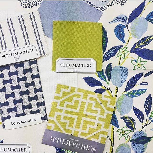This mix is 100% happy. We love our iconic Citrus Garden with Langham in Chartreuse, Morrison, Nolita Embroidery, Brisa, Union Square and Candescent Weave. Regram from @cmiarka_schumacher. #Schustagram