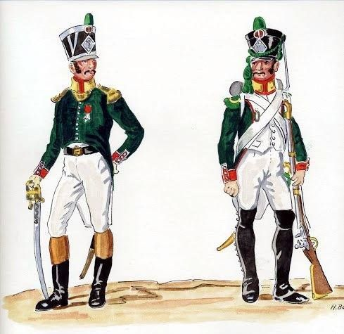 Kingdom of Italy-from left to right: officer woltyżerów and voltigeur 1 Line infantry regiment, 1807. H. Achard.