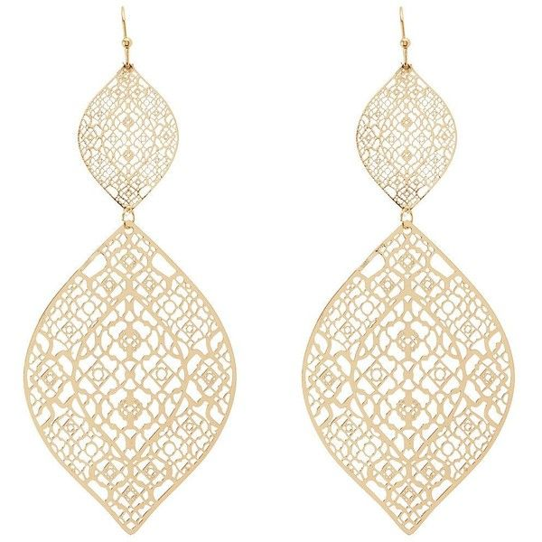 Charlotte Russe Etched Filigree Drop Earrings ($6) ❤ liked on Polyvore featuring…