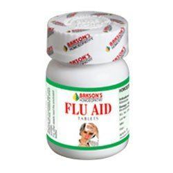 Bakson's Flu Aid Tablet - To overcome an acute attack of flu, sneezing, runny nose, low to high grade fever, chilliness, headache, pain in bones and muscles, cough and general weakness.