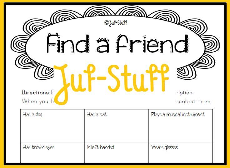 Elkaar leren kennen. Spel voor het begin van het schooljaar. Juf-Stuff: Vind een klasgenoot die...