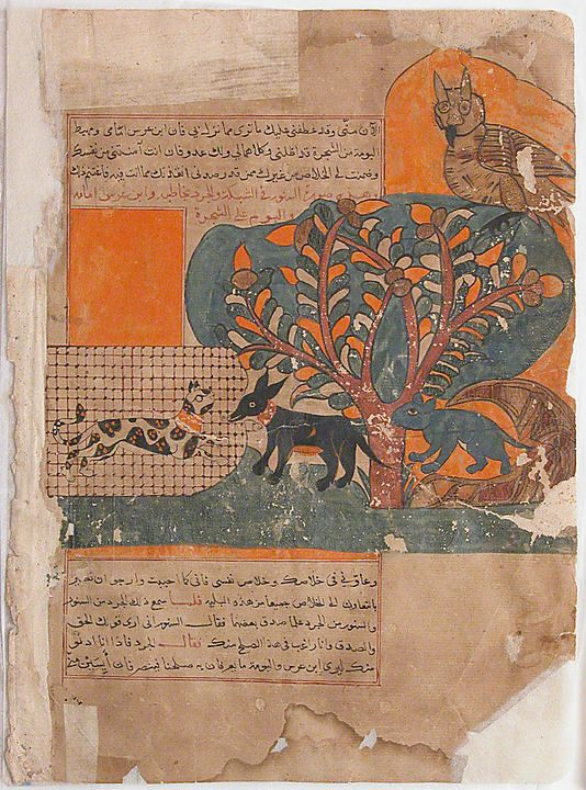 """""""The Trapped Cat and the Frightened Mouse (Rat ?)"""", Folio from a Kalila wa Dimna Folio from an illustrated manuscript, 18th century, Egypt or Syria, Ink and opaque watercolour on paper, 31.8 cm high 22.6 cm wide"""