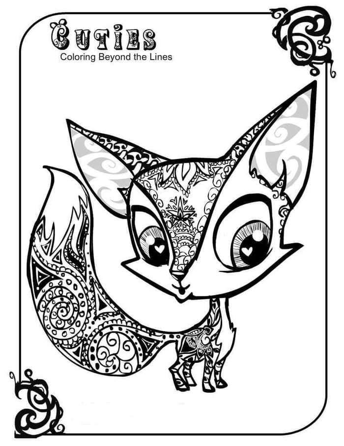 Littlest Pet Shop Coloring Pages Fox In 2020 Fox Coloring Page Animal Coloring Pages Cute Coloring Pages